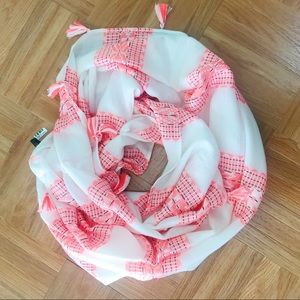 Accessories - Neon Coral & White Tassel Infinity Scarf